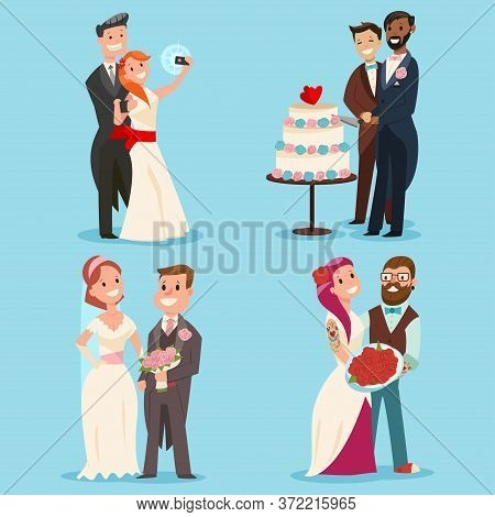 Weddings Couple Vector Cartoon Set. Cute Bride And Groom Character Hipster, Gay And Traditional Sexu