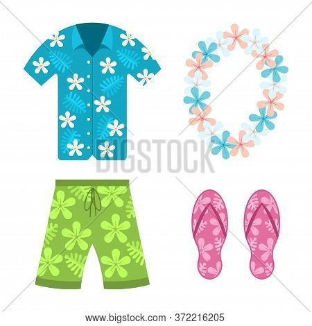 Hawaiian Shirt, Beach Summer Shorts, Flower Necklace And Flip Flops Vector Flat Cartoon Set Of Cloth