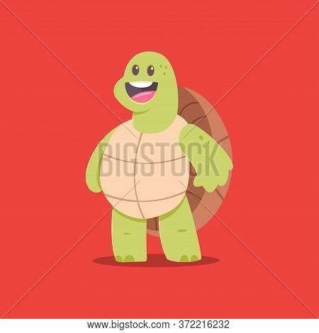 Cute Turtle Cartoon Character. Vector Illustration Of Funny Mascot Animal Isolated On Background.