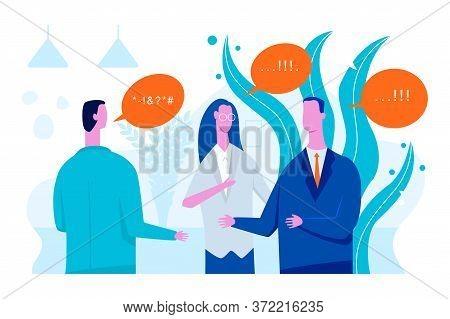 Interpreter Vector Concept Flat Illustration With Businessman And Woman Translator.