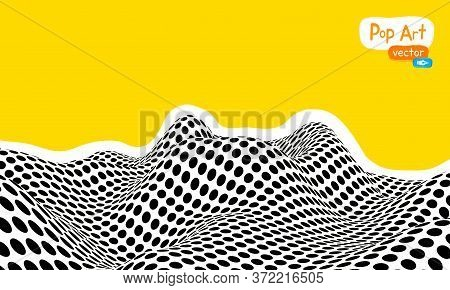 Abstract Op Art Vector Illustration, Yellow Orange Background. Pop Art Illustration Halftone Wave 3d