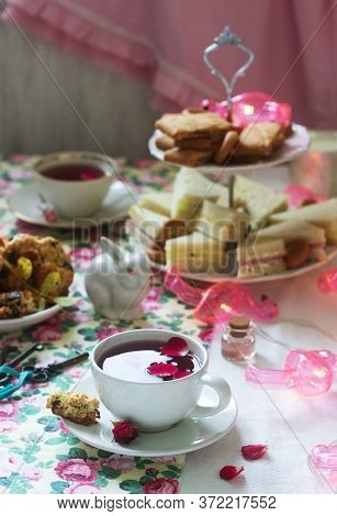 Traditional English Tea Party In A Fabulous Decoration. Rustic Style.
