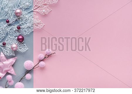 Romantic Christmas Flat Lay, Top View On Two Color Paper Background With Copy-space. Decorative Whit