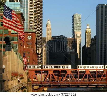 AMERICAN FLAGS AND CHICAGO TRAINS (United States Of America)