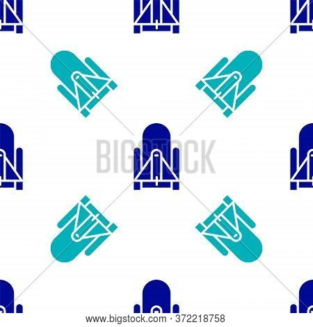 Blue Rocket Launch From The Spaceport Icon Isolated Seamless Pattern On White Background. Launch Roc
