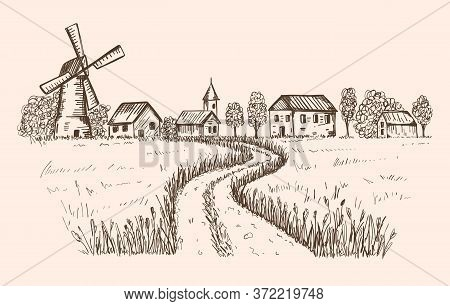 Sketch Of A Rural Landscape. The Road Leading To The Farm, Houses, Mill Through A Wheat Field.good F