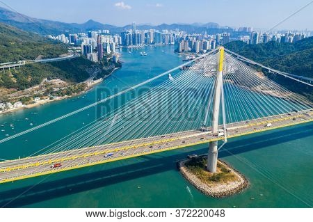 Kwai Tsing, Hong Kong 24 November 2019: Top view of Ting Kau bridge