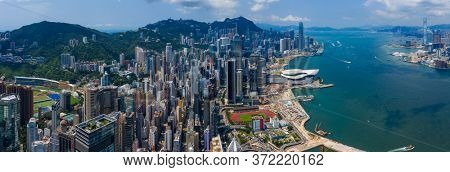Hong Kong island, Hong Kong 11 September 2019: Drone fly over Hong Kong city