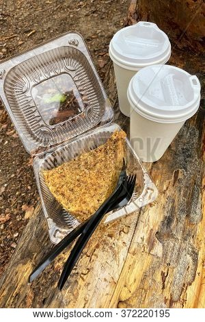 Piece Of Chocolate-nut Cake And Two Paper Cups With Coffee On A Picnic In The Forest. Dessert For Tw