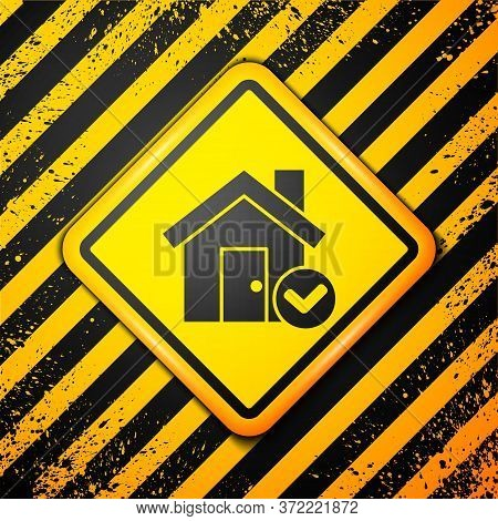 Black House With Check Mark Icon Isolated On Yellow Background. Real Estate Agency Or Cottage Town E