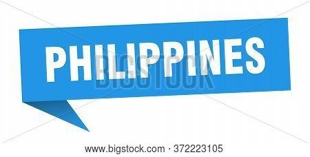 Philippines Sticker. Blue Philippines Signpost Pointer Sign