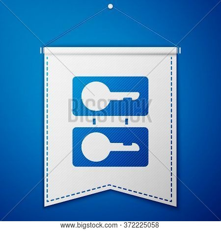 Blue Metal Mold Plates For Casting Keys Icon Isolated On Blue Background. Set For Mass Production An