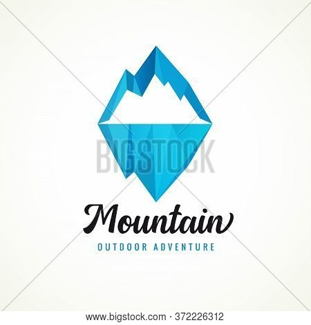 Mountain Adventure Outdoor With Facet Rocky Peak For Camp Or Travel Design. Flat Badge Vector Of Wil