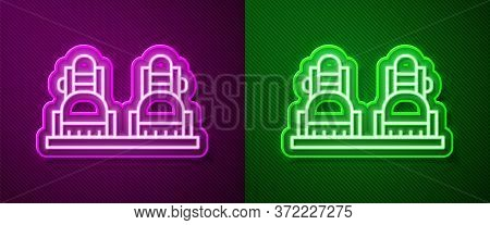 Glowing Neon Line Snowboard Icon Isolated On Purple And Green Background. Snowboarding Board Icon. E