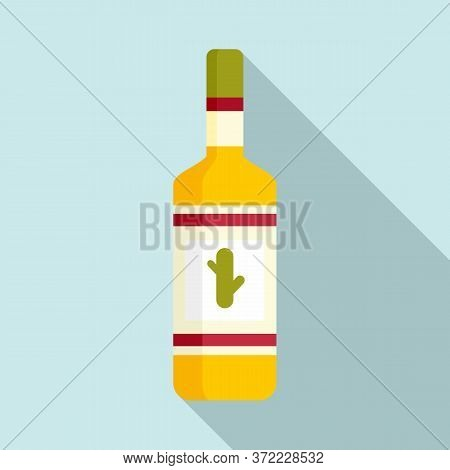Tequila Bottle Icon. Flat Illustration Of Tequila Bottle Vector Icon For Web Design