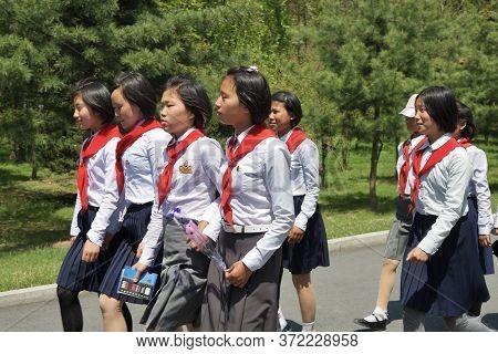 North Korea, Pyongyang - May 1, 2019: A Group Of North Korean Children Members Of The Korean Childre