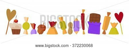 Vector Set Of Sweets On A White Background. Horizontal Banner, Background For Social Network, Advert