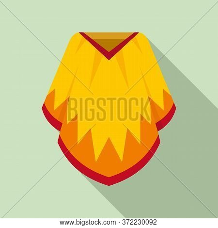 Mexican Poncho Icon. Flat Illustration Of Mexican Poncho Vector Icon For Web Design