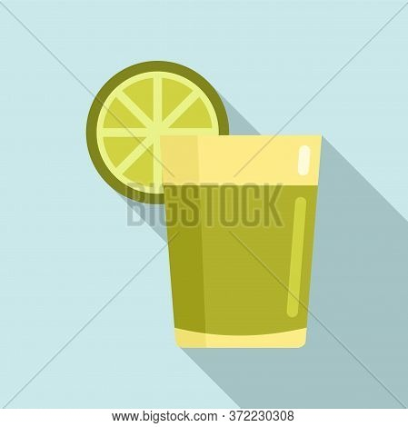 Tequila Lime Glass Icon. Flat Illustration Of Tequila Lime Glass Vector Icon For Web Design