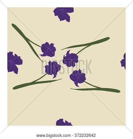 Seamless Pattern With Flowers, Blue Buds And Leaves Of Iris Flowers On A Beige Background.