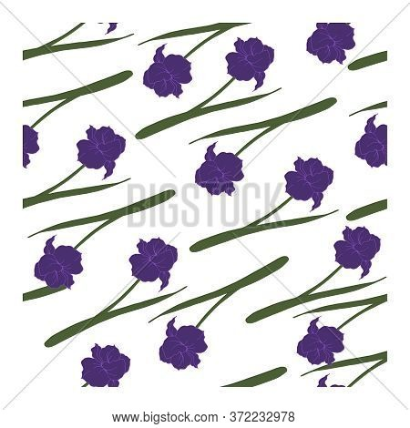 Seamless Pattern With Flowers, Blue Buds And Leaves Of Iris Flowers On A White Background.