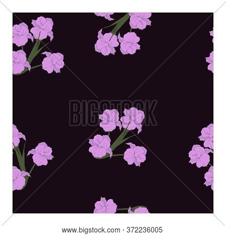 Seamless Pattern With Flowers, Light Purple Buds And Green Leaves Of Iris Flowers In Bouquets On A M