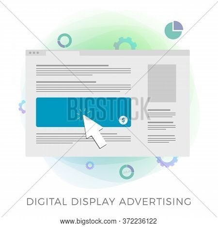 Digital Display Advertising Flat Vector Icon Concept. A Laptop Screen With Online Internet Web Page