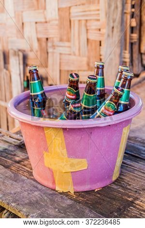 Kalaw, Myanmar - November 24, 2016: Bucket Of Myanmar Brand Beers In A Village In The Area Between K
