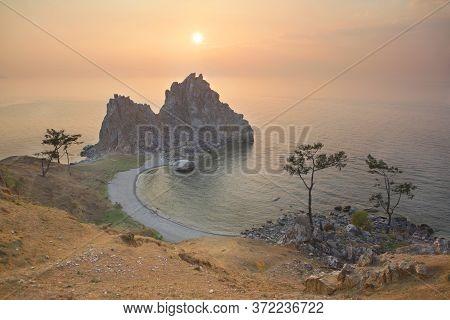 Lake Baikal, View On Burkhan Cape And Shaman Rock, Olkhon Island.