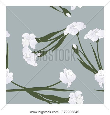 Seamless Pattern With Flowers, Blue-white Buds And Green Leaves Of Iris Flowers In Bouquets On A Blu