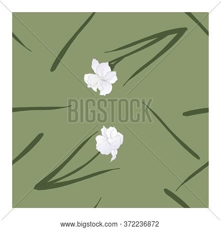 Seamless Pattern With Flowers, Blue-white Buds And Green Leaves Of Iris Flowers On A Green Backgroun