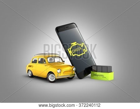 Car Diagnostic Concept Close Up Of Obd2 Wireless Scanner With Smartphone And Retro Car On Gray Gradi