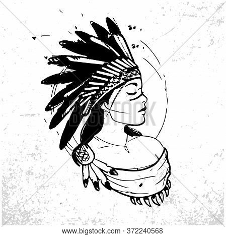 Young Woman In Costume Of American Indian. Silhouette Of Beautiful Indian Women. Sketch Abstract To