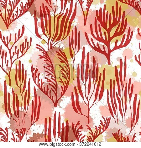 Ocean Corals Seamless Pattern. Paint Splashes Drops Watercolor Background. Marine Water Plants Wallp