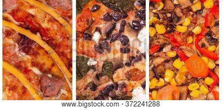 Pizza Set Backgrounds, Macro Photo. Collage Of Three Kinds Of Best Italian Pizzas: With Spinach, Fet