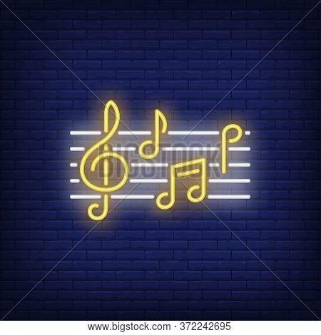 Musical Notation With Notes And Treble Clef Neon Sign. Classical Music, Concert Or Advertisement Des