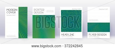Minimal Brochure Design Template Set. Green Abstract Lines On Dark Background. Appealing Brochure De
