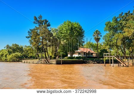 Tigra Delta In Argentina, River System Of The Parana Delta North From Capital Buenos Aires. Lush Veg