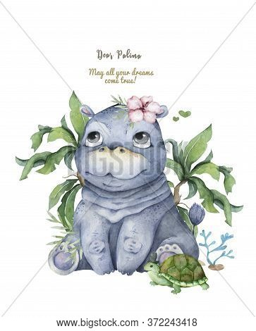 Hand Drawn Cute Isolated Tropical Summer Watercolor Hippo Animals. Two Hippopotamus Family Cartoon A