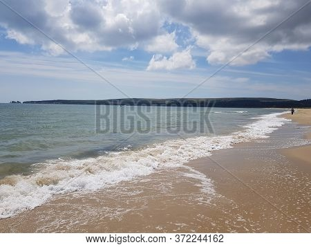 Sea Wave Foam. Sea Waves On Beach. Peaceful Ocean Wave At Beach. Perfect Resort For Relax. Ocean Wav