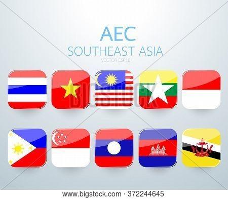 Aec Southeast Asia Flag Icon. Vector Illustration