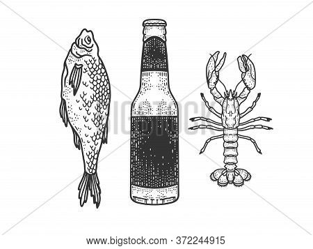 Beer With Dried Fish And Crayfish Sketch Engraving Vector Illustration. T-shirt Apparel Print Design
