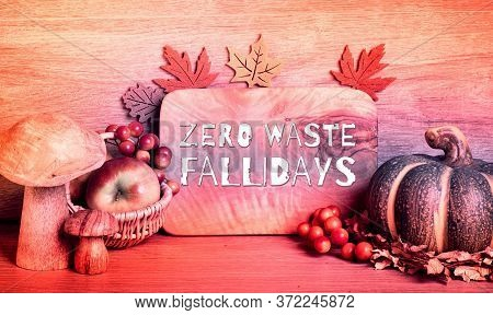Autumn Traditional Decorations, Toned Panoramic Image. Text Zero Waste Fallidays On Wooden Board. Fa