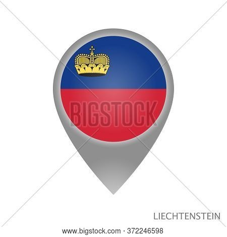 Map Pointer With Flag Of Liechtenstein. Colorful Pointer Icon For Map. Vector Illustration.