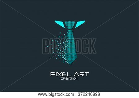 Pixel Art Design Of The Necktie Logo.