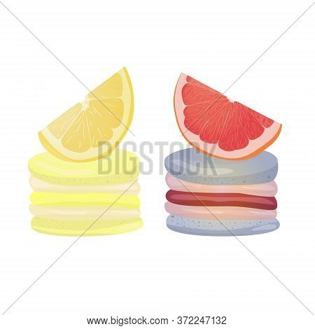 Grapefruit And Lemon Macaroons. Vector Traditional French Cookies In Cartoon Style. Composition Of G