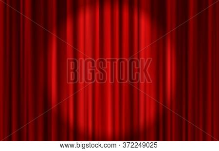 Velvet Red Curtain Abstract Background. Vector Illustration