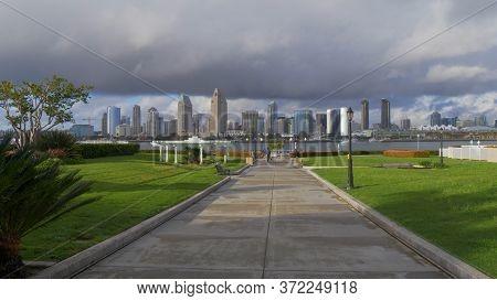 Centennial Park Coronado With San Diego Skyline Viewpoint - San Diego, Usa - March 18, 2019