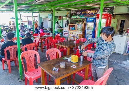 Sagaing, Myanmar - December 5, 2016: Local Eatery At Soon Oo Pon Nya Shin Pagoda On Sagaing Hill Nea