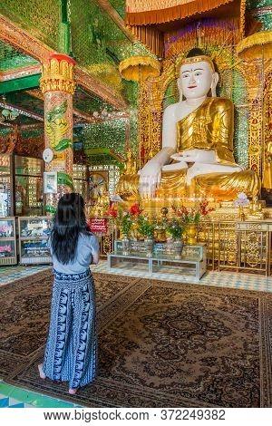 Sagaing, Myanmar - December 5, 2016: Buddha Statue At Soon Oo Pon Nya Shin Pagoda On Sagaing Hill Ne